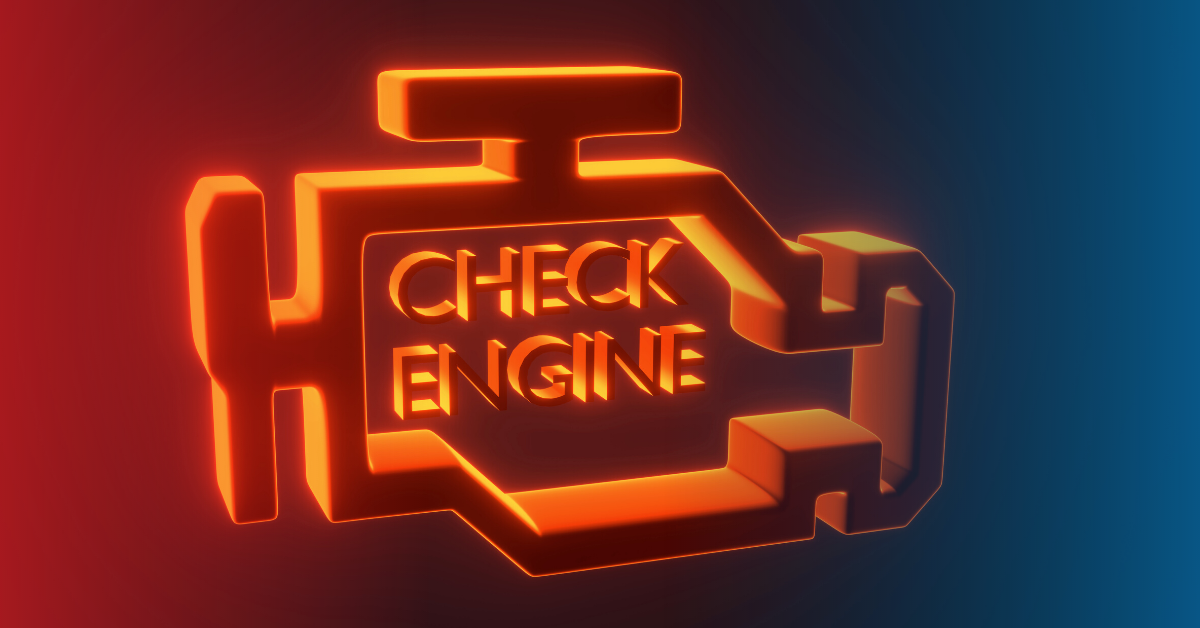 A lit up engine light on the dashboard; rough idle can cause a malfunction code to be sent to the computer.